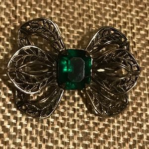Emerald and Silver Bow Brooch